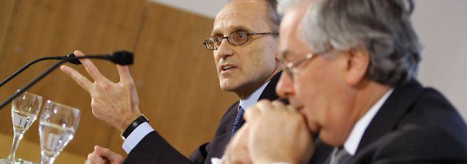 Zwei gegen die Systemkrise: EBA-Bankenaufseher Andrea Enria (l) und ESRB-Vizepräsident Mervyn Allister King.
