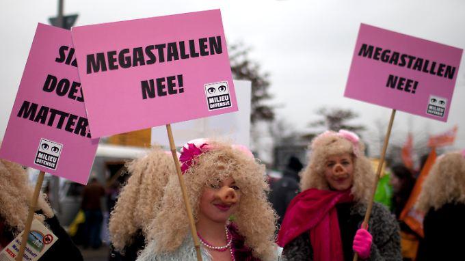Die Proteste richten sich auch gegen die Massentierhaltung.