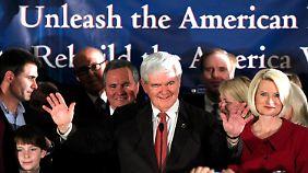 Gingrich ließ sich von seinen Anhängern feiern.