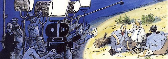 """Die Dreharbeiten zu """"Der Schatz der Sierra Madre"""" - Hal Croves' Schatten (links) ist dabei."""