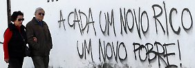 """Ein Paar in Portugal läuft an einer Mauer mit dem Schriftzug """"Für jeden neuen Reichen, ein neuer Armer"""" entlang."""