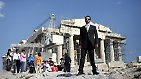 "Phoevos Doudonis, 37, an actor/singer, poses for a picture in front of the Acropolis in Athens March 28, 2012. When asked how he had been affected by the economic crisis, Duodonis replied, ""up to April 2011 I was making a good living as an actor and singer but I have been finding it difficult since then to find any work. Fees have been cut by 70-80% and some theatres don't pay at all. Picture taken March 28, 2012."