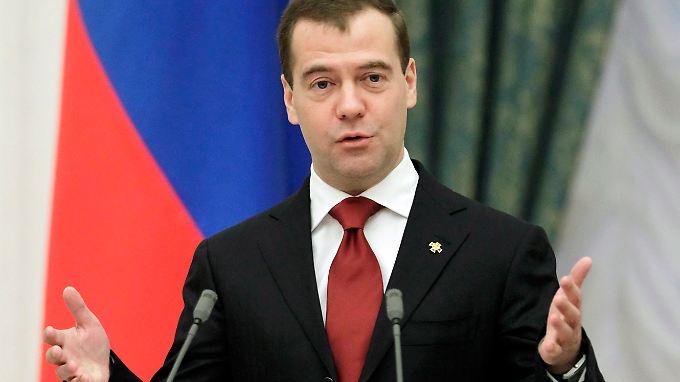 """Präsident Medwedew sieht in dem neuen Parteiengesetz einen Schritt hin zu mehr """"Liberalisierung"""" in Russland."""