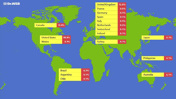 Die große Mehrheit der von Flashback kontrollierten Mac-Rechner steht in Noramerika.