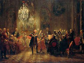 Ausgestellt in der Alten Nationalgalerie in Berlin: Menzels Flötenkonzert von 1852.