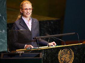 Aurelia Frick bei einem Auftritt vor der UNO-Vollversammlung Ende September.