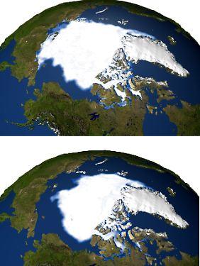"""""""Fingerabdrücke des Klimawandels"""": Die Kombination der Satellitenaufnahmen von September 1979 (oben) und September 2005 zeigt das Schmelzen der Eisfläche am Nordpol."""