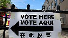 """""""Hier wählen"""": Im November entscheiden die Amerikaner, wer sie in den kommenden vier Jahren regiert."""