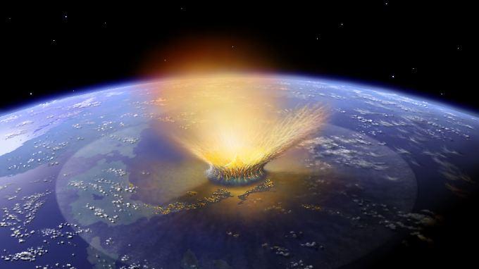 Illustration des Asteroideneinschlags, dessen Wirkung vor 65 Millionen Jahren die Dinosaurier ausgerottet haben soll.