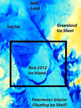 Das Satellitenbild zeigt den Riss im Petermann-Gletscher.