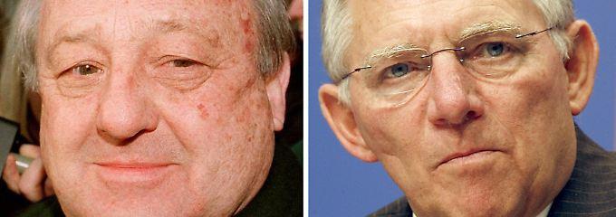 Karlheinz Schreibers (l) illegale Parteispende kostete Wolfgang Schäuble (r) im Februar 2000 seine Ämter.
