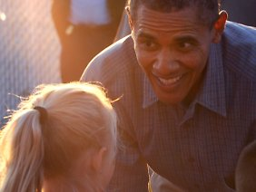 Barack Obama in Des Moines, Iowa.