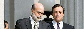 Notenbanker unter sich: Fed-Chef Bernanke (l.) und EZB-Präsident (r.) Draghi