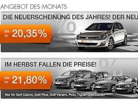 Mit solchen Anzeigen werben Anbieter im Internet für ihr Angebot eines Golf VII.