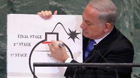 Scharfe Warnung vor dem Iran in Uno-Rede: Netanjahu zückt Cartoon-Bombe