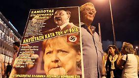 Das Konterfei Merkels muss für vieles herhalten. Hier bei Protesten in Griechenland.