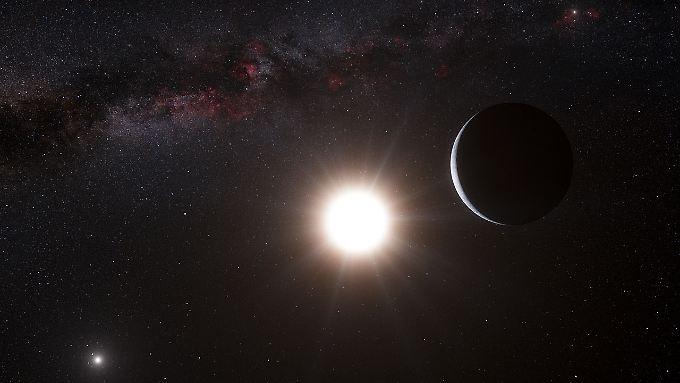 Künstlerische Darstellung des Planeten: Alpha Centauri ist ein Doppelsternsystem mit dem helleren Stern Alpha Centauri A und dem anderen Alpha Centauri B.