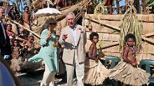 """Camilla und der Sohn von """"Missis Kwin"""" reisten zwei Wochen lang durch Commonwealth-Staaten des Pazifiks."""