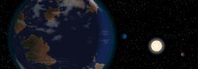 Der Planet HD 40307 g (vorn links) und zwei seiner kleineren Planetengeschwister (blau und braun) sowie sein Mutterstern.