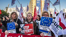 Proteste im Brüsseler Europaviertel gegen die Sparpolitik der europäischen Regierungen.