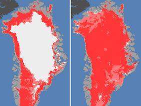 Das Meereis der Arktis in diesem Sommer so stark geschrumpft wie nie zuvor seit Beginn der Satellitenmessungen. Links eine Aufnahme vom 8. Juli, als das grönländische Meereis auf 40 Prozent der Fläche schmilzt. Rechts ein Bild vom 12. Juli - auf ungefähr 97 Prozent der Fläche schmilzt das Eis.