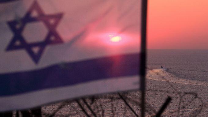 Ein israelisches Patrouillenboot an der nördlichen Grenze der Seeblockade.