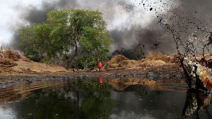 Öllecks gelten als eine der größten Bedrohungen für die Natur in Nigeria. Zugleich ist der Rohstoff aber die bedeutendste Einkommensquelle der Nigerianer. Rund 80 Prozent des Staatseinkommens stammt aus der Förderung.