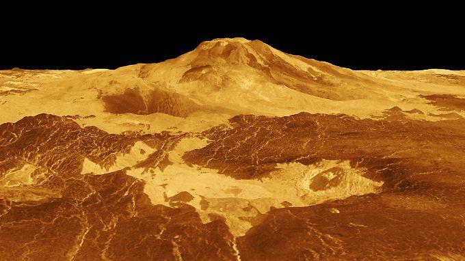 Die dreidimensionale Perspektive der Magellan-Sonde zeigt Maat Mons, den höchsten Vulkan auf der Venus.