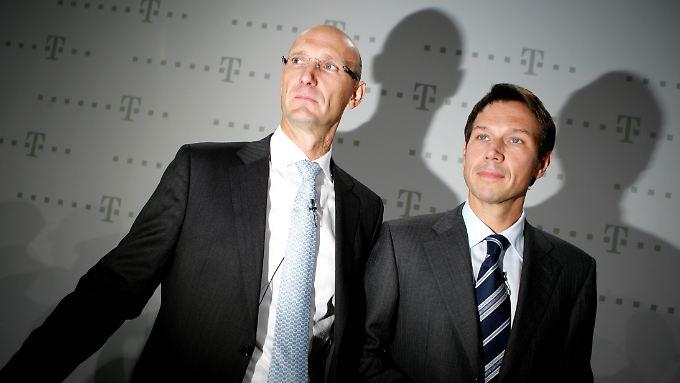 Thimoteus Höttges und René Obermann: Höttges übernimmt von Obermann den Chefposten bei der Deutschen Telekom.