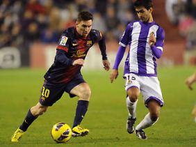 Valladolids Alberto Bueno ist kein richtiges Hindernis für Lionel Messi.