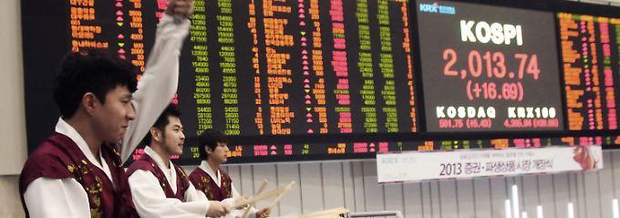 An der Börse in Seoul beginnt das Jahr 2013 mit einem Paukenschlag.