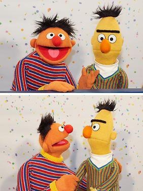 Ernie und Bert, zwei Puppenstars aus der Sesamstraße.