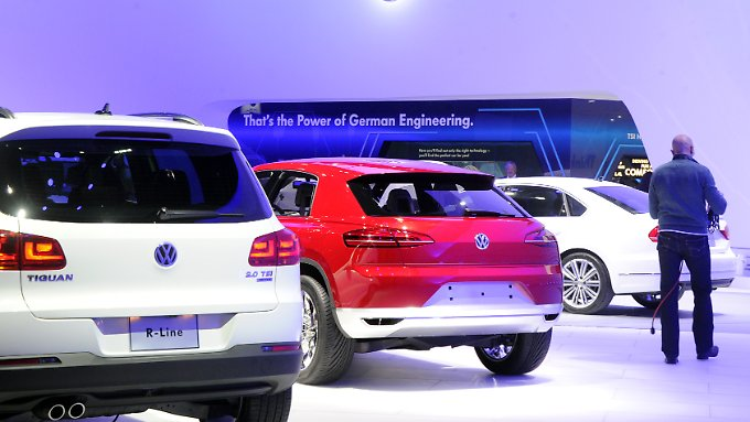 """That's the Power of German Engineering"": Unter diesem Slogan präsentiert sich Volkswagen auf der Motorshow in Detroit."
