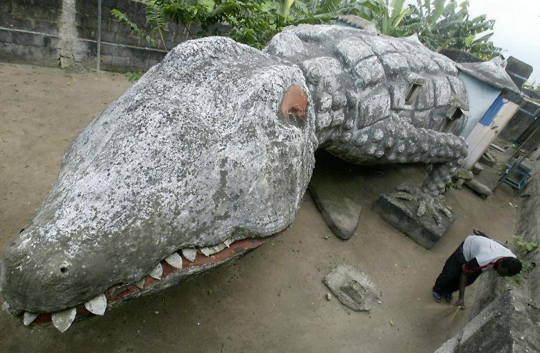 Dieses Haus in Form eines Krokodils steht in Abidjan, der Hauptstadt der Elfenbeinküste. Es wurde von dem inzwischen verstorbenen Künstler Moussa Kalo entworfen und gebaut, nun wohnt sein ehemaliger Lehrling Thierry Atta drin, der hier gerade den Hof fegt.