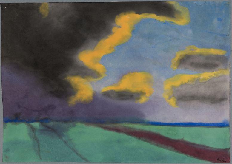 """Dieses Bild """"Weite Landschaft mit Wolken"""" von Emil Nolde lag jahrelang vermutlich in einem Schubladen-Schrank verborgen im Privathaushalt des Kunstsammlers Cornelius Gurlitt."""