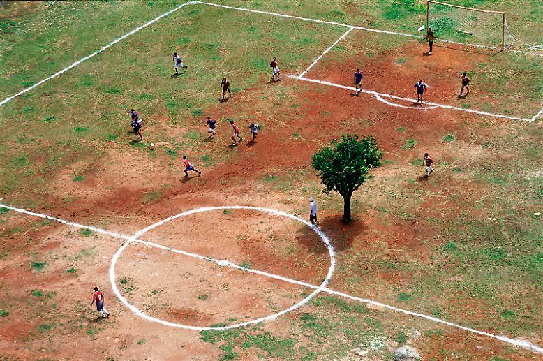 … er überrascht: Was aussieht wie eine Fotomontage ist echt: Mitten auf einem Bolzplatz in Sao Paulo steht ein Baum. Die Spieler wissen das und sehen in ihm einen weiteren Gegenspieler. So mancher lauffaule Spieler oder auch der Schiedsrichter nutzen ihn für Erholungspausen als Schattenspender. Entscheidend ist nicht immer nur aufm Platz, …