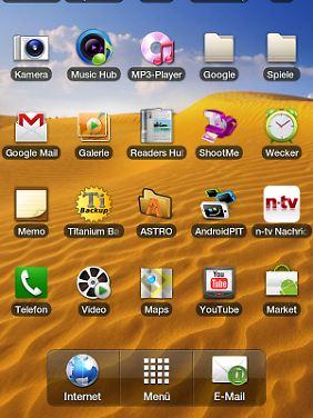 Auf einer Startseite ist Platz für 25 Programm-Icons.