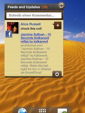 Feeds and Updates fasst soziale Netzwerke in einem Widget zusammen.