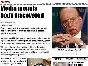 Der fingierte Artikel über Murdochs Tod.